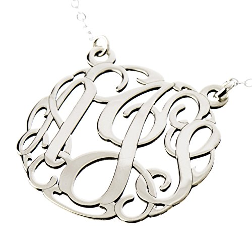 AJ`s Collection Sterling Silver Personalized 3 Initial Monogram Pendant Necklace
