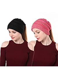 EINSKEY Womens Messy Bun Beanie Hat Soft Stretch Cable Knit Ponytail Skull Cap