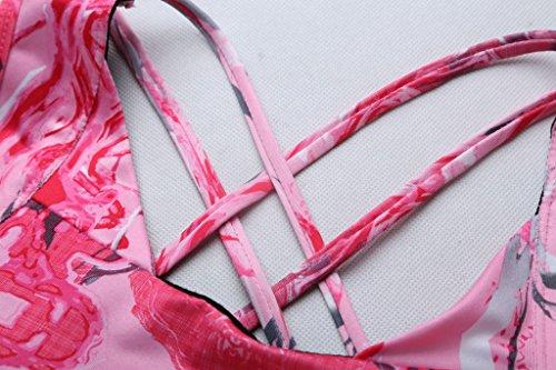 Vilania Sujetador Mujer Deportivo Yoga Bra Copa Acolchada Criss Cross Apoyo Bajo Impacto Entrenamiento Fitness Impreso Rosa