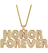 ChainsHouse Bubble Initial Necklace Women Men Platinum/18K Gold Plated Personalized Hip Hop Cryst...