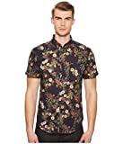 Naked & Famous Denim Men's Shortsleeveshirt-Antique Botanical Painting, Navy, L