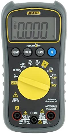 General Tools TS04 ToolSmart Bluetooth Connected Digital Multimeter, Auto-Ranging with NCV Detector, CAT III 600V Safety Rated