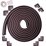 Supercow Baby Proofing Edge & Corner Guard Set (Dark Brown 15 Ft + 8 Corner Guards) Protector Cushion Safety Cover Foam Pad