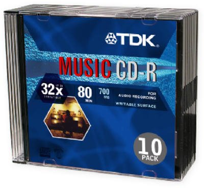 TDK CD-R80TWNM10 CD-R DA, 80 Minute, 700 MB, 32x (10-Pack with Slim Jewel Cases)