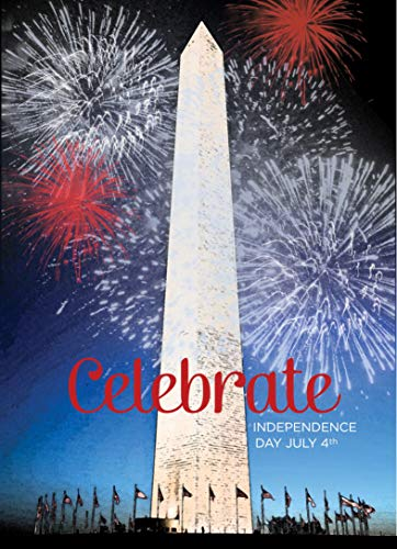 July 4th Greeting Cards - JF1501. Greeting Cards with an Image of the Washington Monument. Box Set Has 25 Greeting Cards and 26 Red Colored Envelopes.