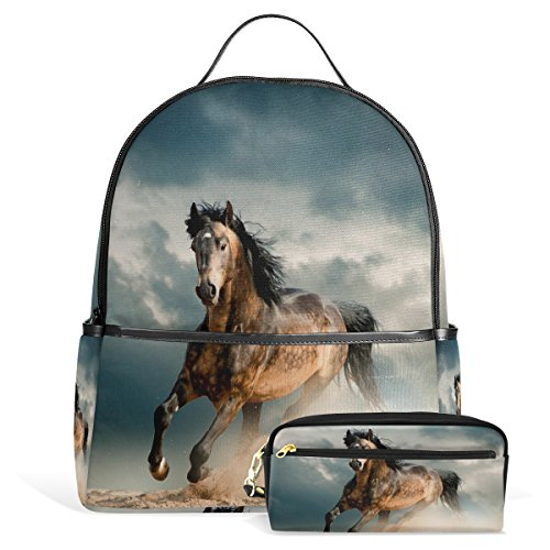 Price comparison product image Horse Pattern Print Unisex Rucksack Canvas Satchel Casual Daypack ,School College Student Backpack with Pencil Case
