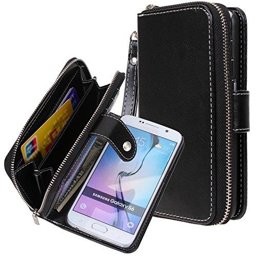 Bag Case Purse - Galaxy S6 case, S6 case, E LV Samsung Galaxy S6 - 2IN1 ( CASE CUM PURSE) PU Leather flip Wallet Bag Pouch Case Cover For Samsung Galaxy S6 - PURSE BLACK