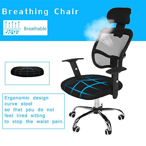 Executive Computer Office Home Task Adjustable Swivel Chair Stool with Arms,Breathable Mesh,Ergonomic Headrest and Lumbar Support(Ship from US!) by Toxz office products (Image #7)