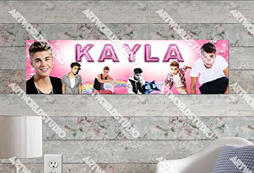 (Customized Name Painting Justin Bieber Poster With Your Name On It Personalized Banner)