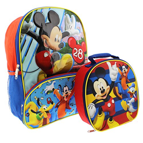 Mickey Mouse 16 inch Backpack and Lunch Box Set (Backpack For Boys Mickey Mouse)