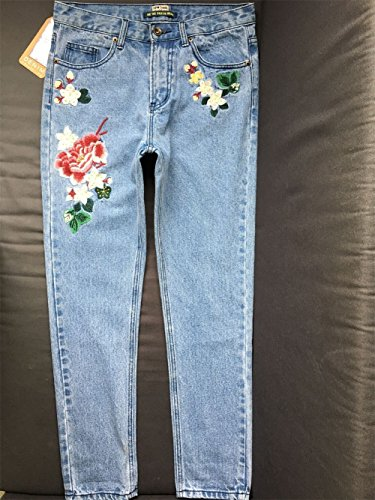 SITENG Womens Embroidery Jeans Light Blue Washed Denim Ripped Cotton Distressed Pants,6,Light Blue by SITENG (Image #5)