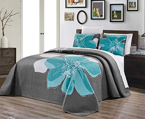 """2-Piece Fine Printed Oversize (66"""" X 95"""") Quilt Set Reversible Bedspread Coverlet Twin/Twin XL Size Bed Cover (Aqua Blue, Grey, White Hibiscus Floral)"""