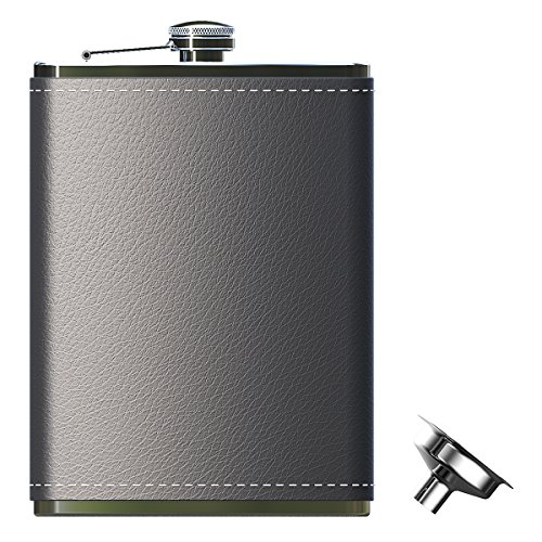 Pocket Hip Flask 8oz with Funnel- 18/8 Stainless Steel with Black Leather Wrapped Cover For Liquor Shot (Black Leather Hip Flask)