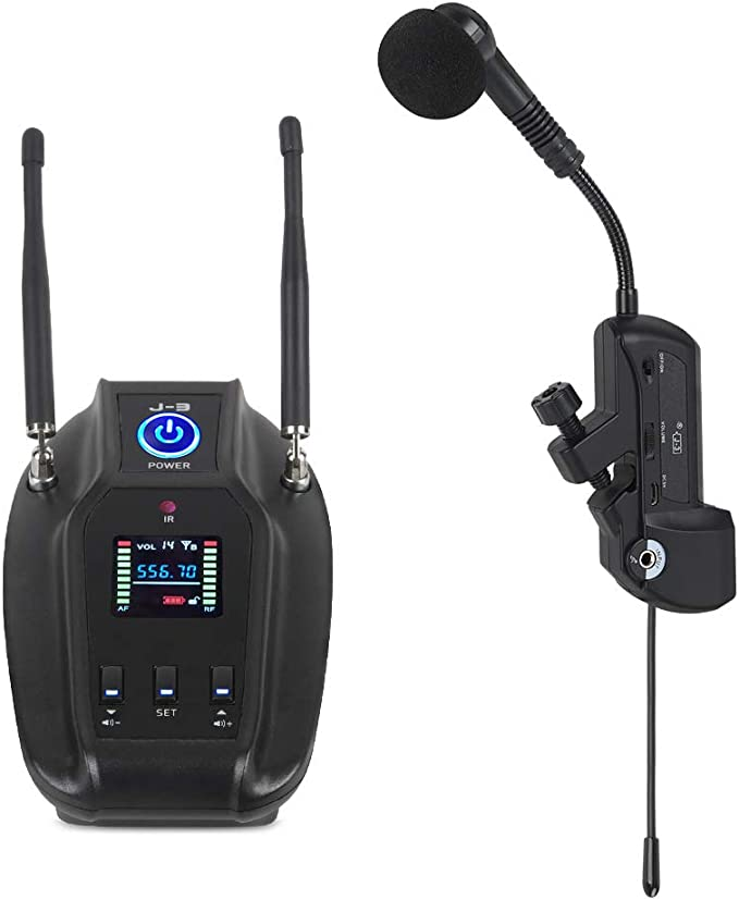 XTUGA J-3 Professional True Diversity UHF Instrument Microphone Wireless Transmission System for Saxophone Transmitter Receiver 492ft Transmission Range,Plug and Play