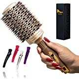 Fagaci Large Round Brush for Blow Drying with Natural Boar Bristle, Professional Round Hair Brush Nano Technology Ceramic+ Ionic for Hair Styling, Drying, Healthy Hair and Add Volume + 4 Styling Clips