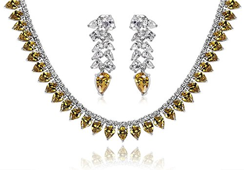 KnSam Women Platinum Plate Waterdrop Yellow Necklace Earrings Set Crystal [Novelty Bridal Jewelry Set] by KnSam