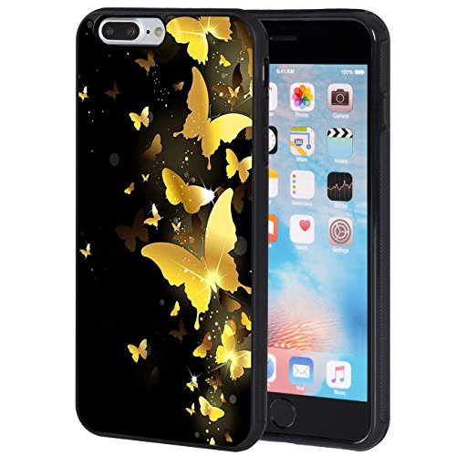 iPhone 8 Plus Case,AIRWEE Slim Anti-Scratch Shockproof Silicone TPU Back Protective Cover Case for iPhone 8 Plus 5.5 Inch,Yellow Butterfly ()