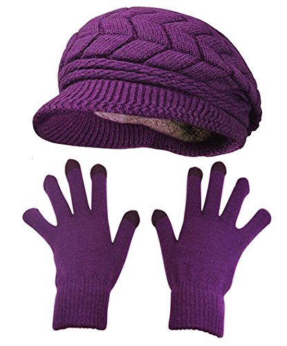 HINDAWI Winter Hat and Gloves for Women Knit Warm Snow Ski Outdoor Caps Touch Screen Mittens ()