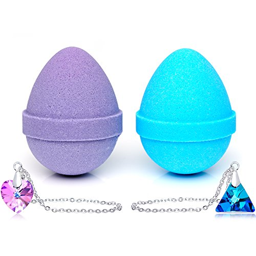 Egg Bath - Easter Egg Bath Bombs with Necklaces Created with Swarovski Crystals 2 Pack Made in USA