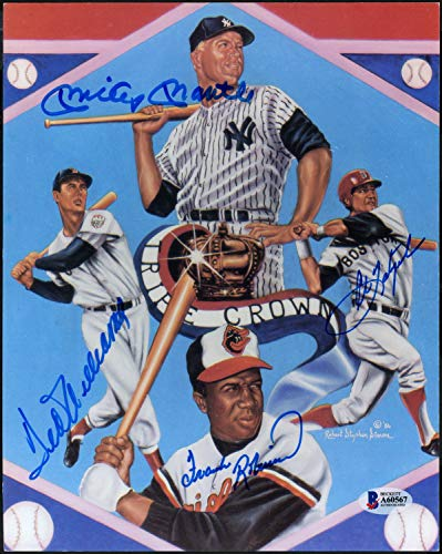 Mickey Mantle, Ted Williams, Carl Yastrzemski & Frank Robinson Autographed Signed Memorabilia 8x10 Photo Triple Crown Winners - Beckett Authentic