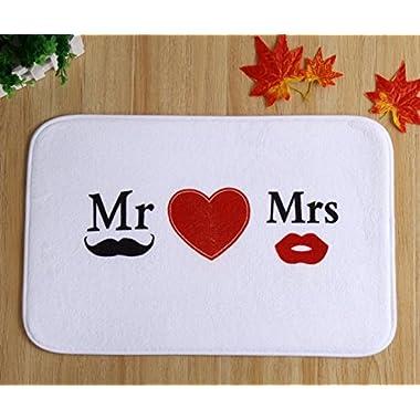 B&S FEEL Stylish Mr&Mrs Beard Lips Pattern non-slip Bathroom Bedroom mats rugs doormats