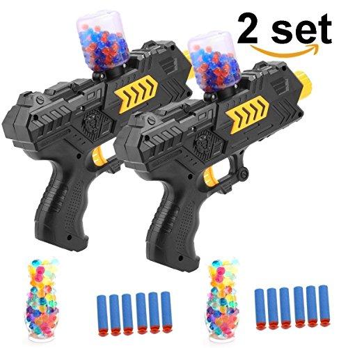 EXSPORT 2 Pack 2-in-1 Multifunction Blaster Gun Dart Gun for Kids Shooting Gun with 4000PCS Water Polymer Balls and 24 PCS Soft EVA Bomb for Kids Hand Gun Toy