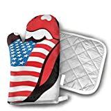 Rolling Stones USA Lips Kitchen Gloves for Cooking, Baking, BBQ, Grilling - Heat Resistant (Up to 480¡ãF) Oven Mitts, Best Protection Ever