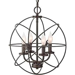 """Revel / Kira Home Orbits II 15"""" 4-Light Modern Sphere/Orb Chandelier, Oil-Rubbed Bronze Finish-DIY light fixtures"""