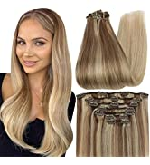 Full Shine Remy Clip in Hair Extensions Human Hair Clip in Extensions Balayage 12 Inch Color 10 B...