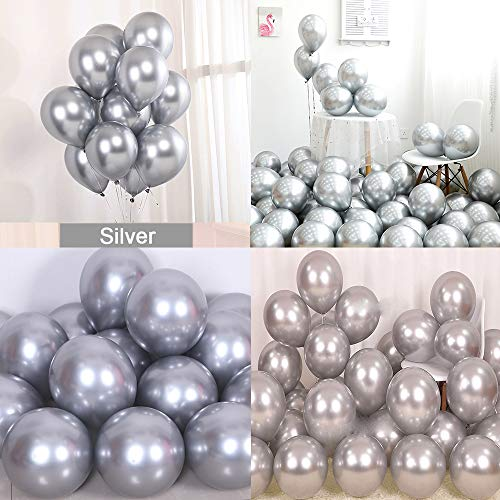 kenandtom Chrome Metallic Balloons for Party 50 pcs 12 inch Thick Latex Balloons for Birthday Wedding Engagement Anniversary Christmas Festival Picnic or Any Friends & Family Party Decorations-Silver