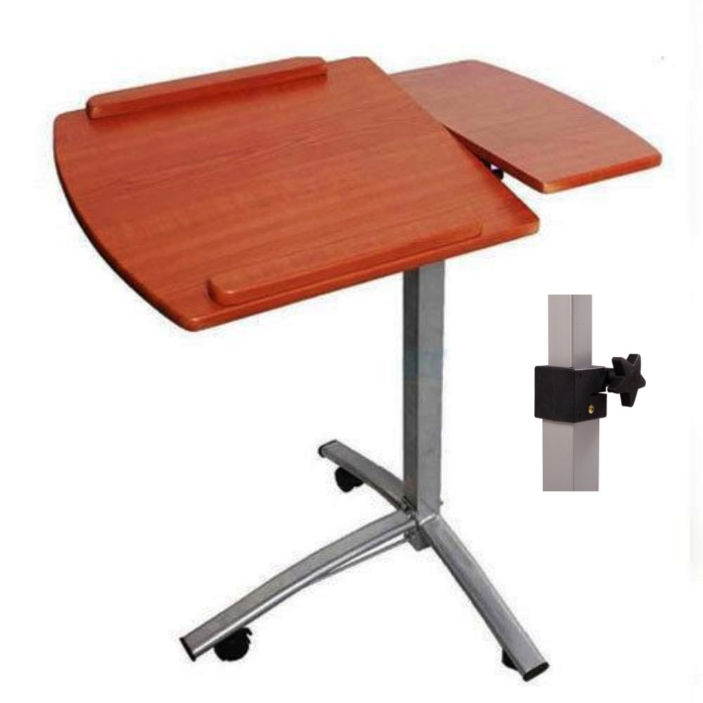 Laptop Notebook Smartphone Stand Portable Rolling Desk Bedroom Cart 360 ° Tabletop Angle - School Home Office Furniture Tan #1042