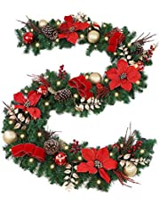 WBHome Pre-lit Christmas Garland Gold Themed with 50 LED Lights, Battery Operated (Batteries NOT Included)