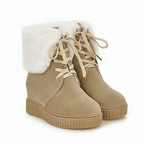 Latasa Womens Faux Fur Lace Up Short Winter Wedges Boots Beige A9kMv5ZtBm
