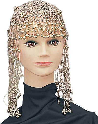 [Egyptian Headdress Fancy Dress Accessory Cleopatra Fake Gold Beaded Headpiece] (Cleopatra Outfit)