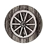 iPrint Polyester Round Tablecloth,Barn Wood Wagon Wheel,Retro Wheel on Timber Wall Barn House Village Cart Circle Decorative,Dark Brown White,Dining Room Kitchen Picnic Table Cloth Cover Outdoor Ind