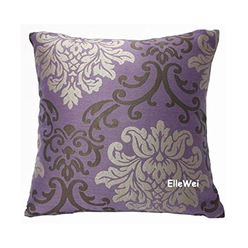 Amazon.com: ElleWeiDeco Modern Damask Purple Throw Pillow Cover: Home U0026  Kitchen