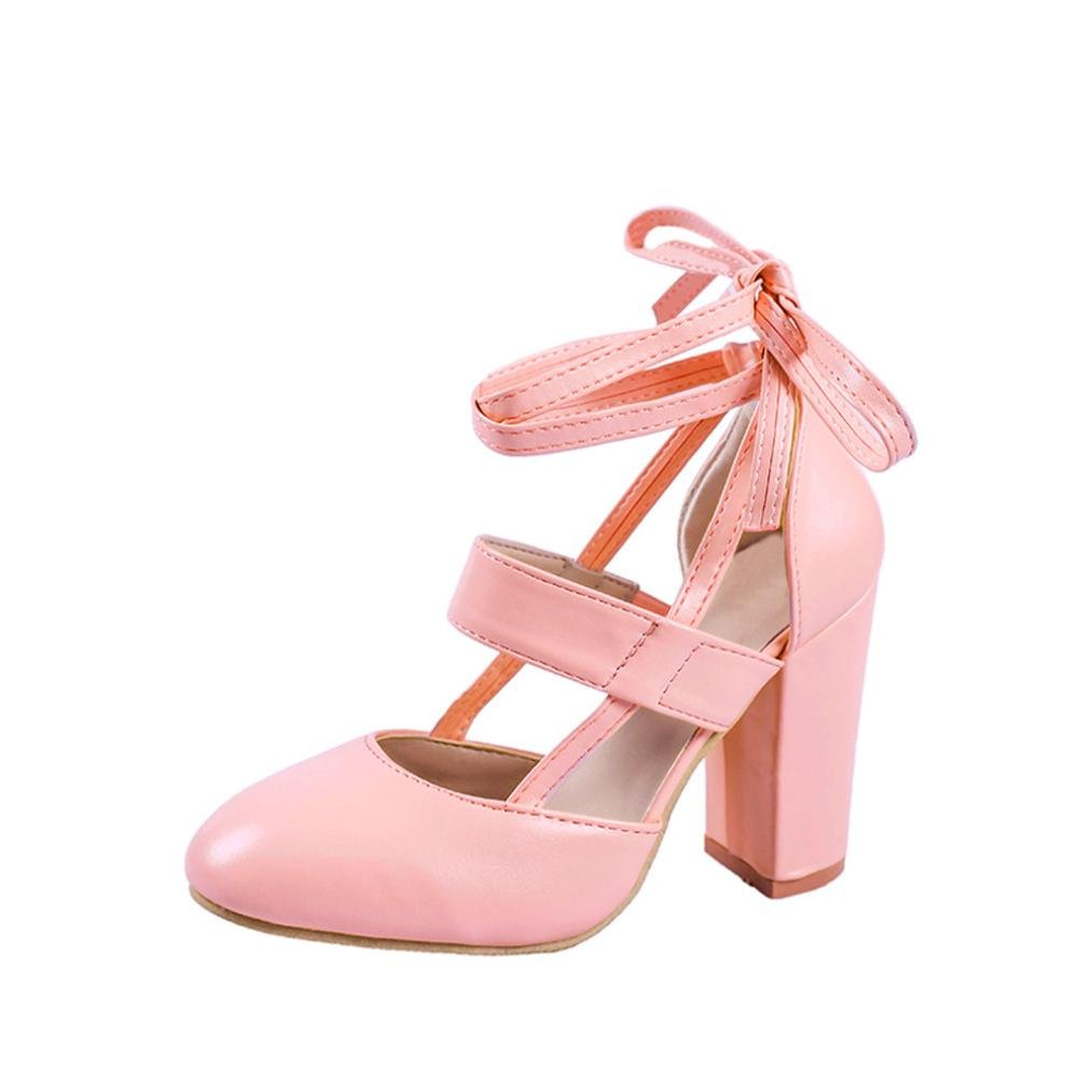 LtrottedJ Women's Fashion Heeled Sandals Ankle Strap Dress Sandals for Party Wedding (35, Pink)