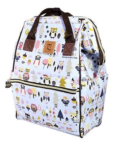 (DollyClub Water Repellent PVC Backpack for Women Girls, School Bag, Campus Rucksack, Versatile Travel Storage Organizer, Adorable Sky Blue Owl Family Pattern Design, 10.6