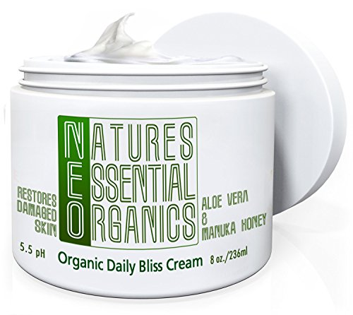 Organic Aloe Vera Cream. Natural Moisturizer for Dry and Sensitive Skin. Non-Greasy, Hypo-Allergenic. Fast Absorbing With Manuka Honey. Hydrate and Repair Your Skin Today! 8 (Nature Hypoallergenic Moisturizer)