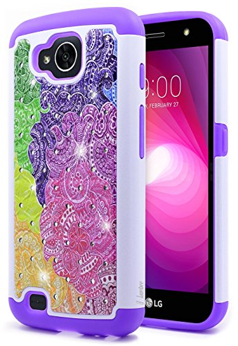 LG X Venture Case, LG X Calibur Case, NageBee [Hybrid Protective] Armor Soft Silicone Cover with [Studded Rhinestone Bling] Design Hard Case for LG X Calibur/X Venture (Rhinestone Bling Hard Case)