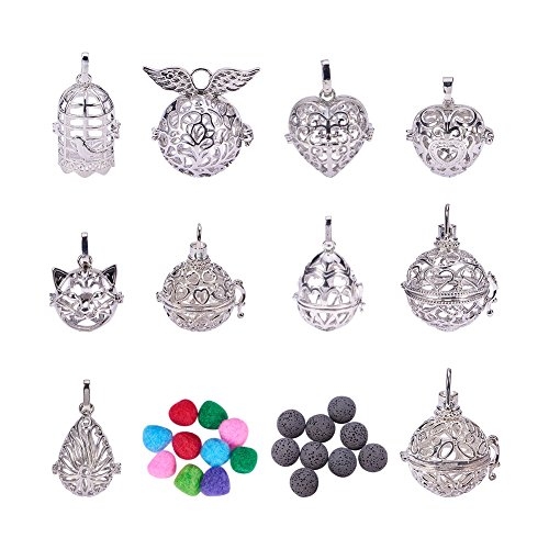 PandaHall Elite 10 Styles Hollow Brass Aromatherapy Essential Oil Diffuser Locket Cage Pendant with 10 PCS Lava Beads and 10 PCS Defusing Balls ()