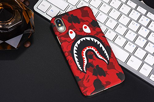 new style aef9f 53087 A Bathing Ape Bape Shark Protective Hard Case Cover for iPhone - Glow In  The Dark Case (IPHONE 7/8, RED)