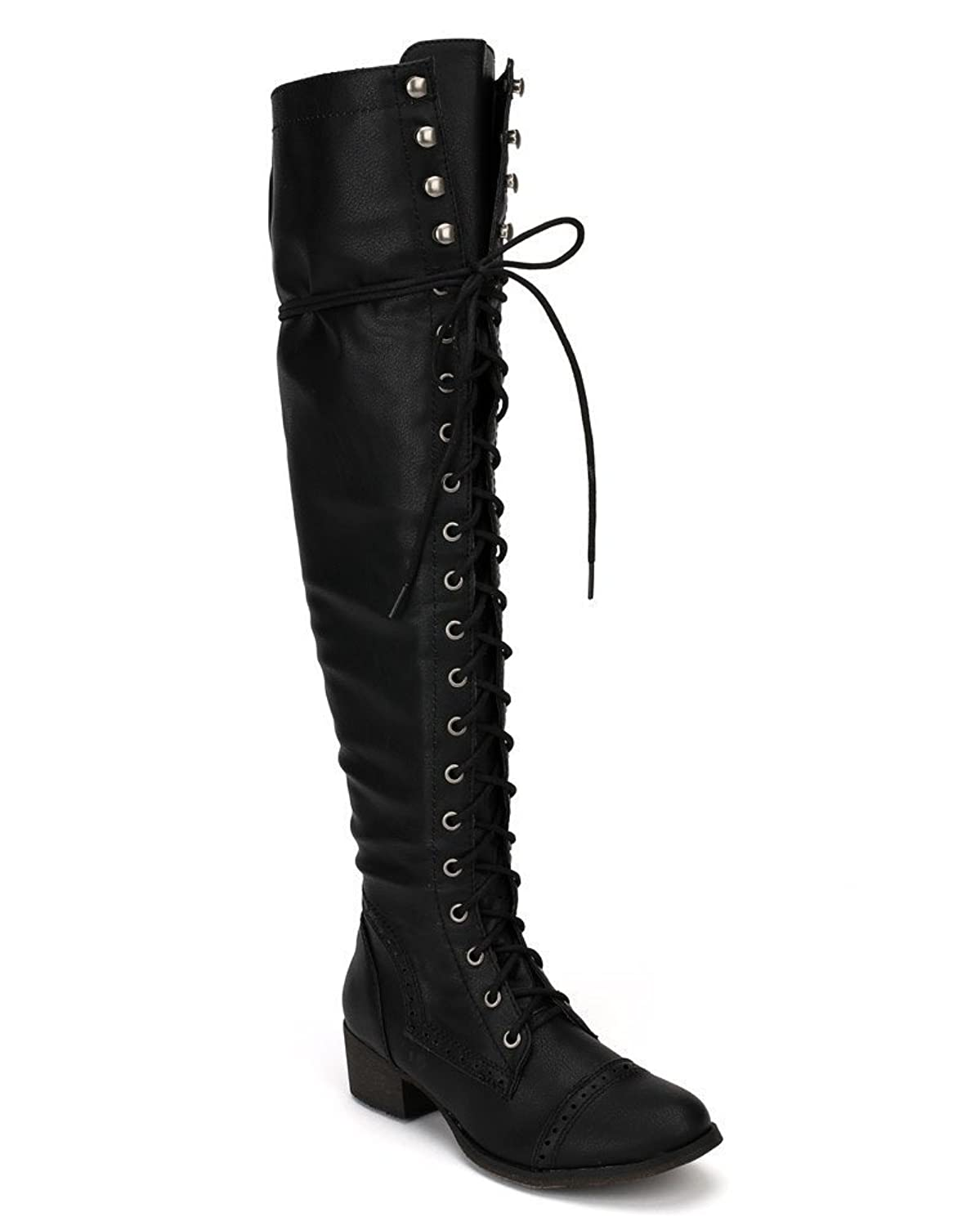 Amazon.com | Breckelles Women's Alabama-12 Knee High Riding Boots ...