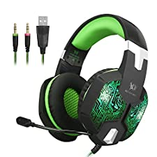 PC Gaming Headset, G1000 Professional 3.5mm Bass Stereo Headphones with Microphone LED Lighting for Computer Laptop and Smartphones (Green)