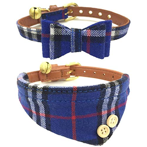 The creativehome Dog Cat Collars Leather for Small Pet Adjustable Bow-tie and Scarf Puppy Collars with Bell Cute Plaid Bandana Dog Collar Blue (2 Pack)
