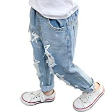 PAUBOLI Ripped Jeans Baby Girl Infant Toddler Denim Pants Star Pattern 12M- 6T