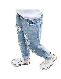 PAUBOLI Ripped Jeans Baby Girl Infant Toddler Denim Pants Star Pattern 12M- 6T Light Blue
