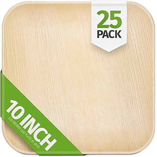 10 Palm Leaf Plates - 25 Pack - Square - Compostable, Biodegradable & Eco-Friendly Party Plates - Sturdy & Heavy Duty Alternative to Plastic, Paper, Wood or Disposable Bamboo Plates - By Aevia