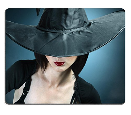 [Luxlady Mouse Pad Natural Rubber Mousepad IMAGE ID: 34578837 Young woman in a witch costume her face covered with a] (Beautiful Witch Costumes)