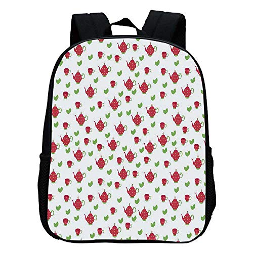 Tea Party Durable Kindergarten Shoulder Bag,Teapots with Polka Dots and Leaves Tea Time Image Beverage British Design Decorative For school,11.8